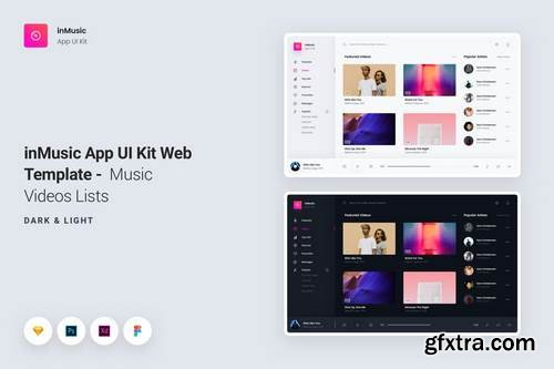 inMusic App UI Kit Web Template - Music Videos