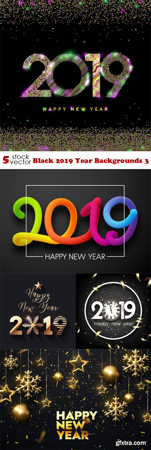 Vectors - Black 2019 Year Backgrounds 3