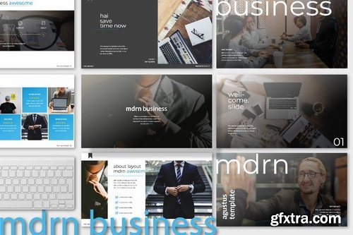 mdrn business multipurpose Powerpoint Keynote and Google Slide Templates