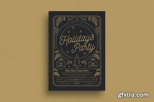 Gold Holiday Party Flyer