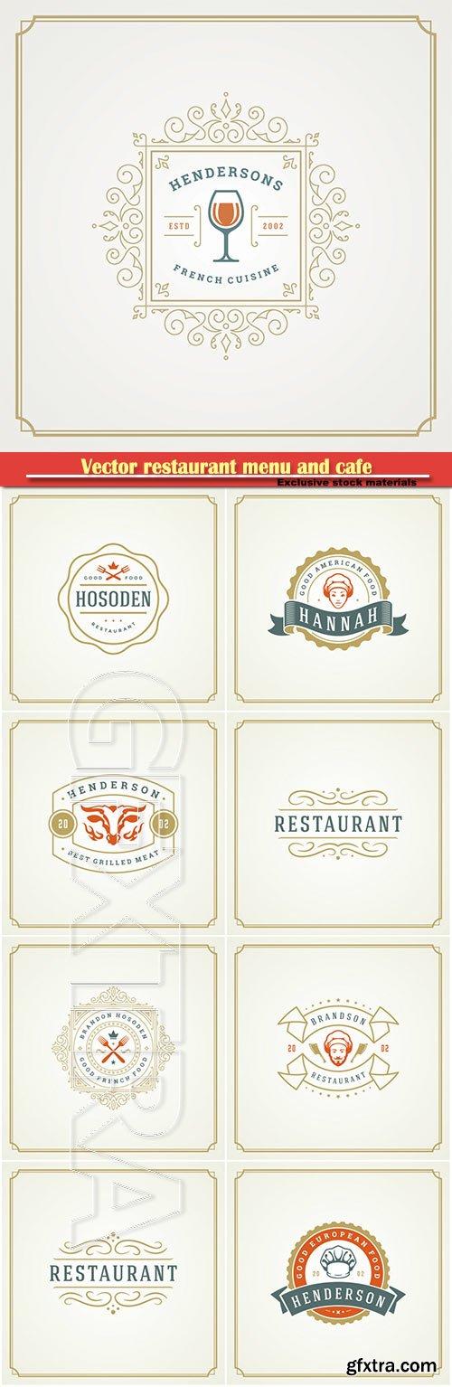 Vector restaurant menu and cafe badge