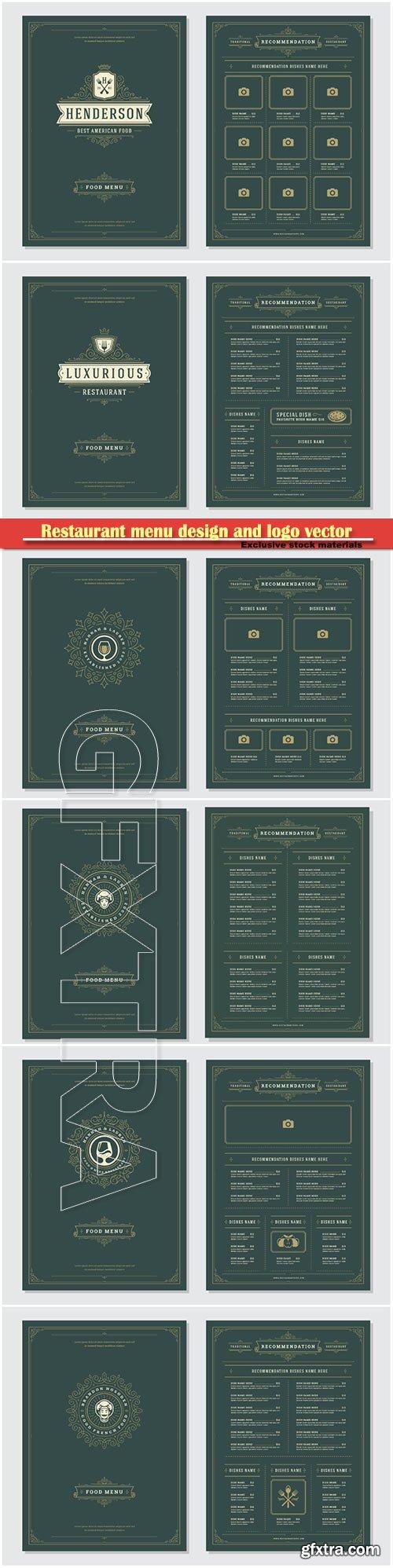 Restaurant menu design and logo vector brochure template