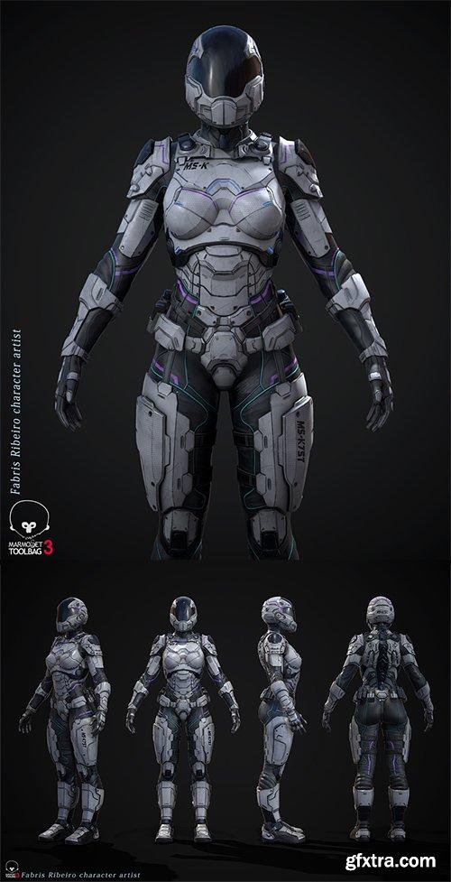 Cubebrush - Female Sci-fi Soldier
