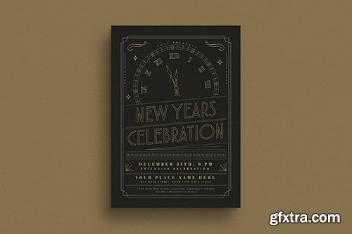 Gold New Year Party Event Flyer
