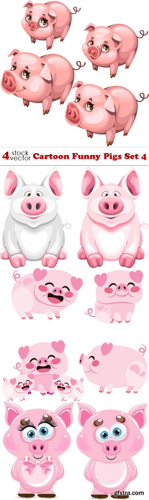 Vectors - Cartoon Funny Pigs Set 4