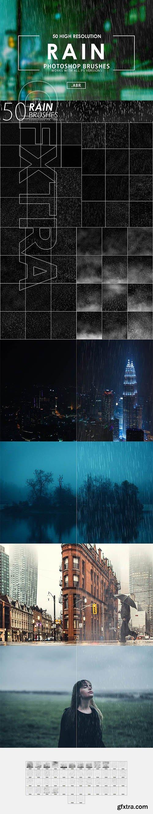CreativeMarket - 50 Rain Photoshop Brushes 3070624