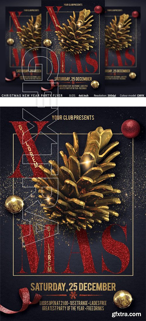 CreativeMarket - 2019 Christmas New Year Party Flyer 3174993