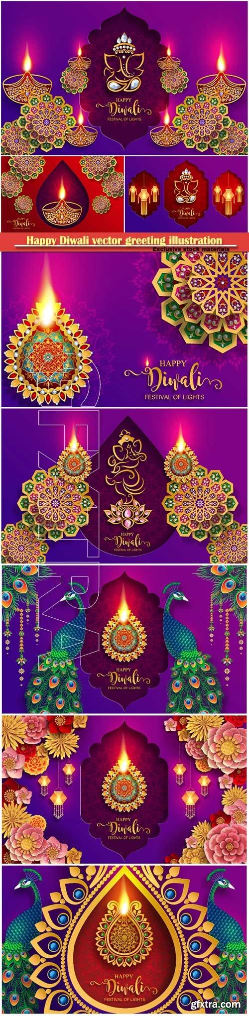 Happy Diwali vector greeting illustration template