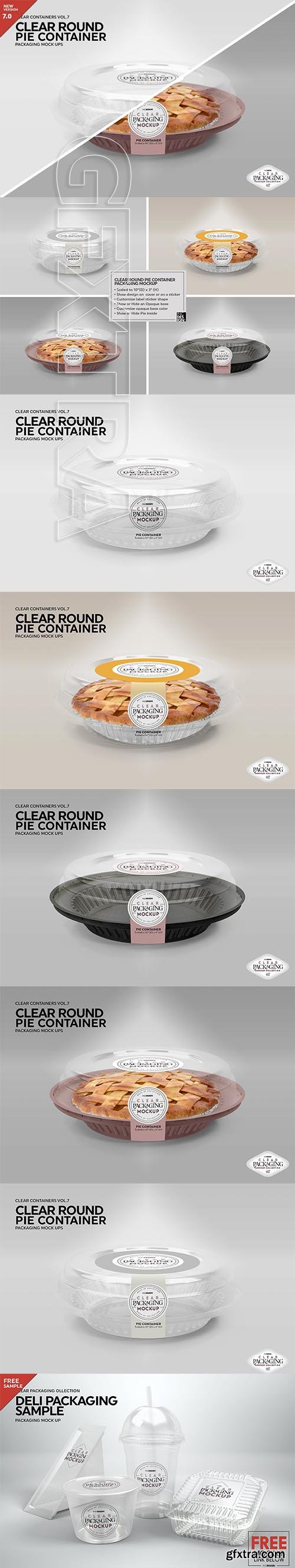 CreativeMarket - Clear Pie Container Packaging Mockup 3170139