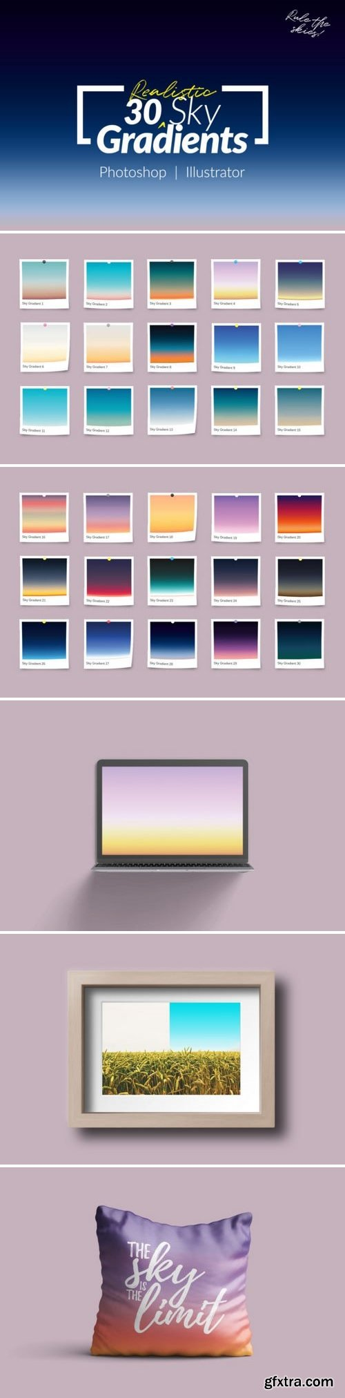 CF - 30 Realistic Sky Gradients for Photoshop & Illustrator 746626