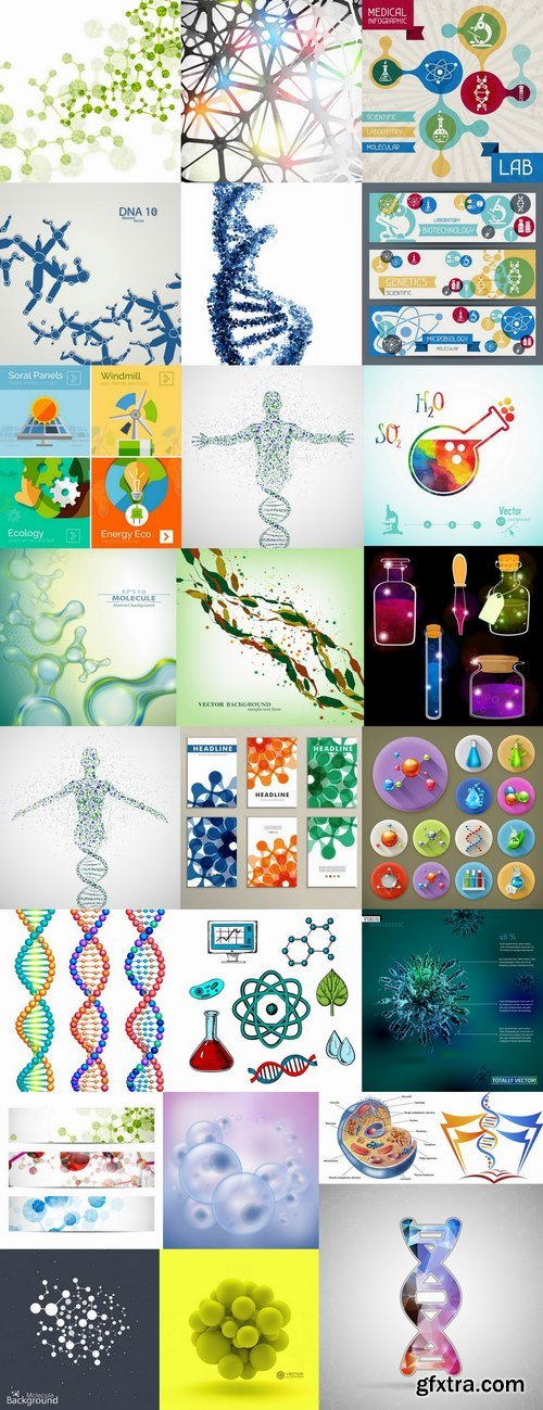 DNA molecule chemistry chemistry icon flyer banner vector image 25 EPS