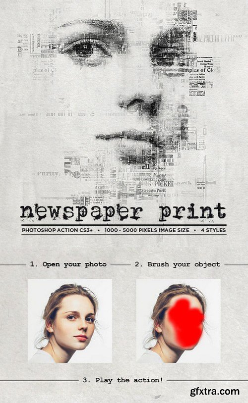 Graphicriver - Newspaper Print Photoshop Action CS3+ 19471439