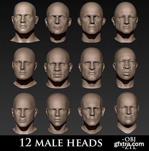 Cubebrush - 12 Male Heads
