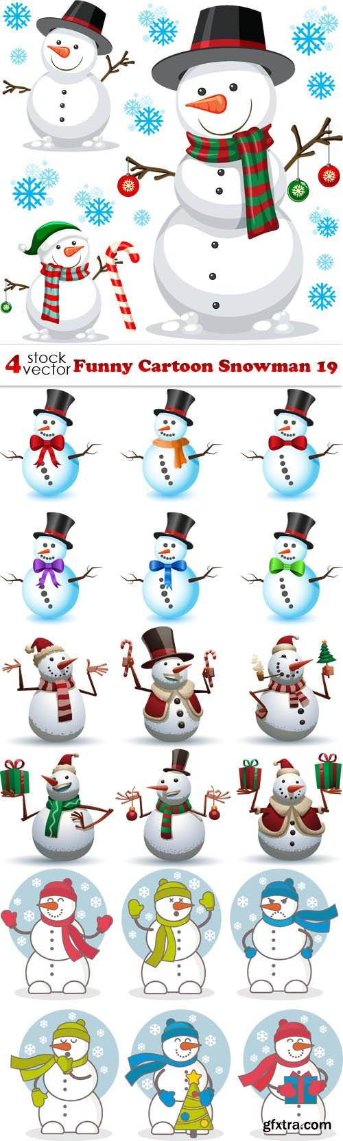 Vectors - Funny Cartoon Snowman 19