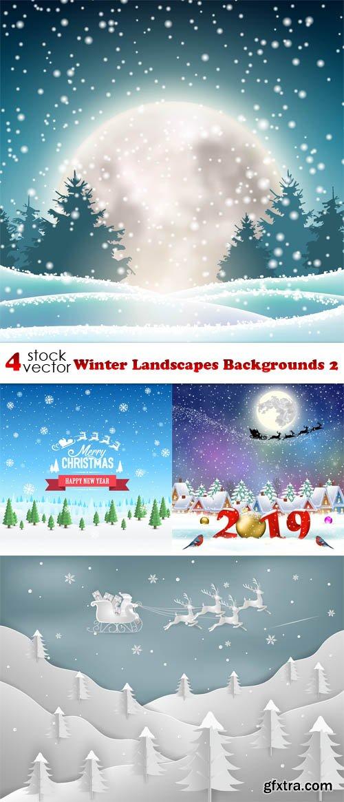 Vectors - Winter Landscapes Backgrounds 2