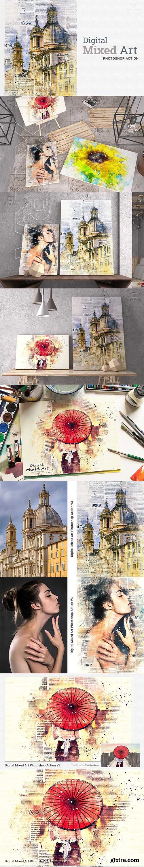 CreativeMarket - Digital Mixed Art Photoshop Action 3189477