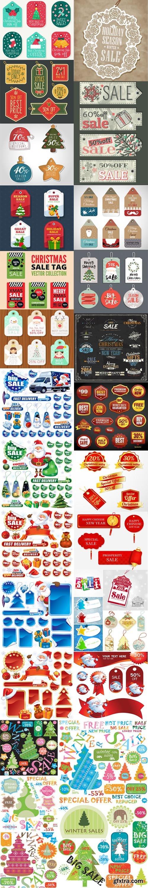 Holiday & Christmas Sales Vector Bundle 1 [Ai/EPS]