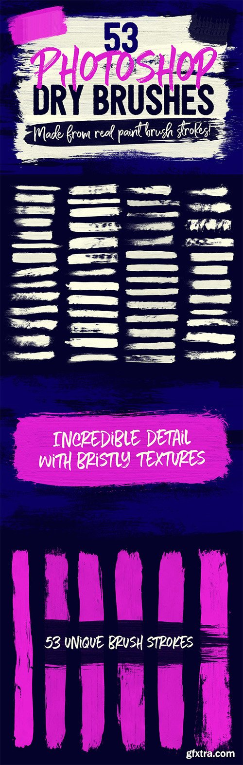 53 Photoshop Dry Brushes (ABR) Made From Real Brush Strokes