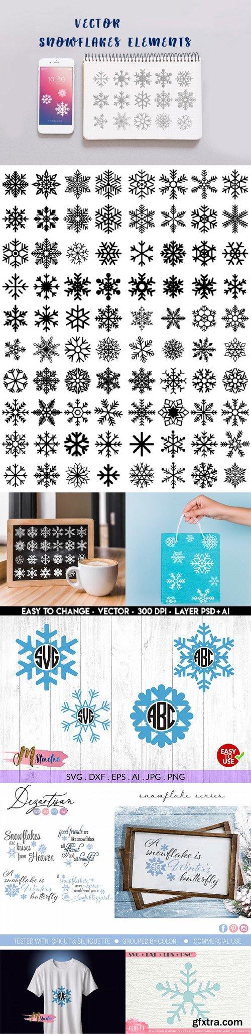 Vector Snowflakes Elements Bundle [Ai/EPS/SVG/DXF/PSD]