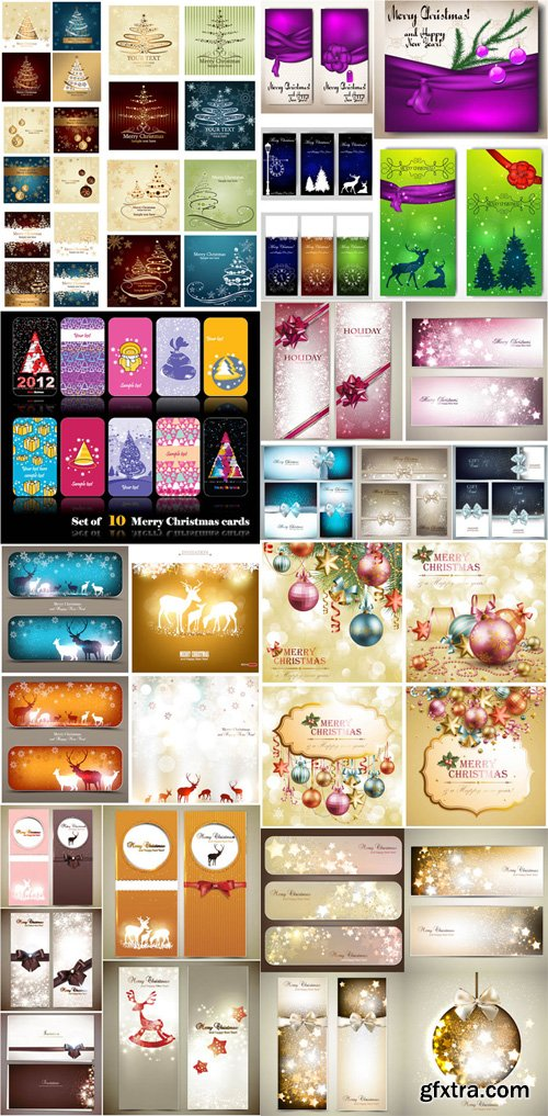Christmas Cards Vector Collection 1 [Ai/EPS]