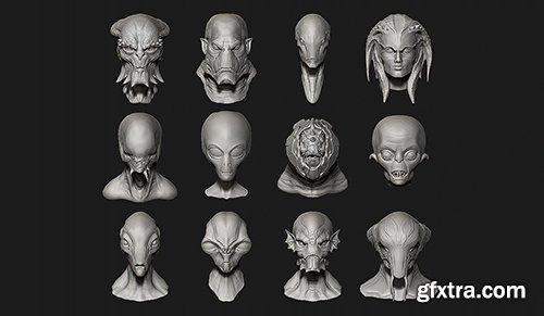 Cubebrush - 12 Aliens Creatures Heads