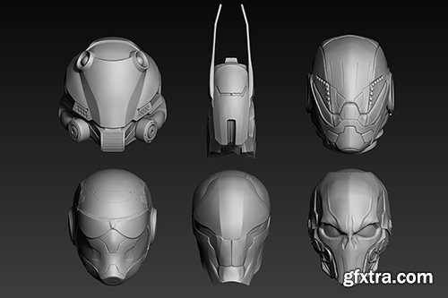 Cubebrush - Set of a Sci-Fi Heads Part 1