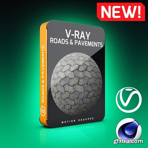 Motion Squared – V-Ray Roads and Pavements Texture Pack for Cinema 4D