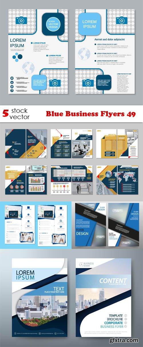 Vectors - Blue Business Flyers 49