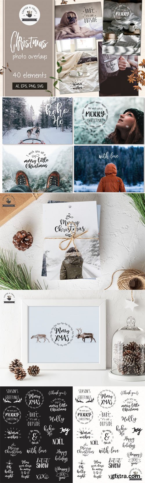 40 Christmas Photo Overlays [Ai/EPS/PNG/SVG]