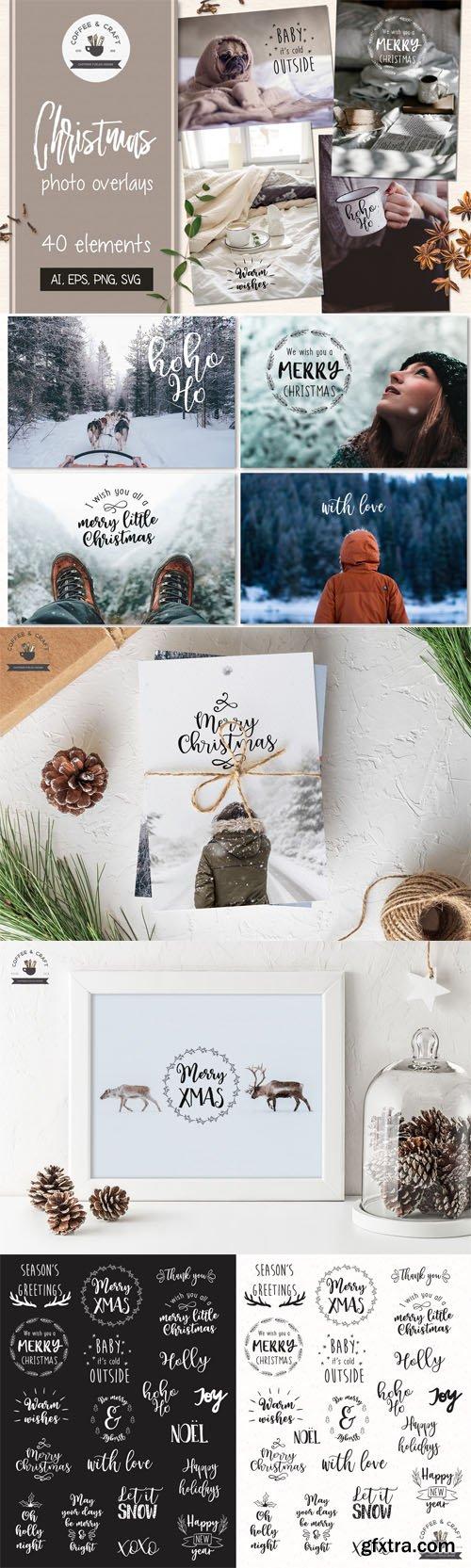 40 Christmas Photo Overlays [Ai/EPS/PNG/SVG]