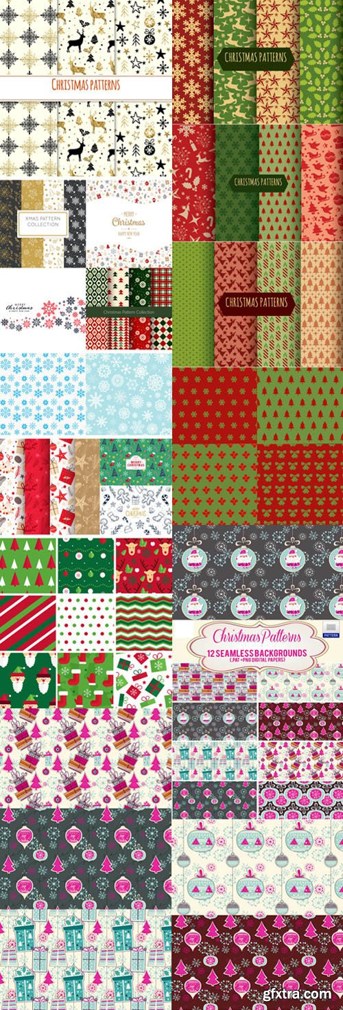 Christmas Patterns Vector Collection 1 [Ai/EPS/PAT]