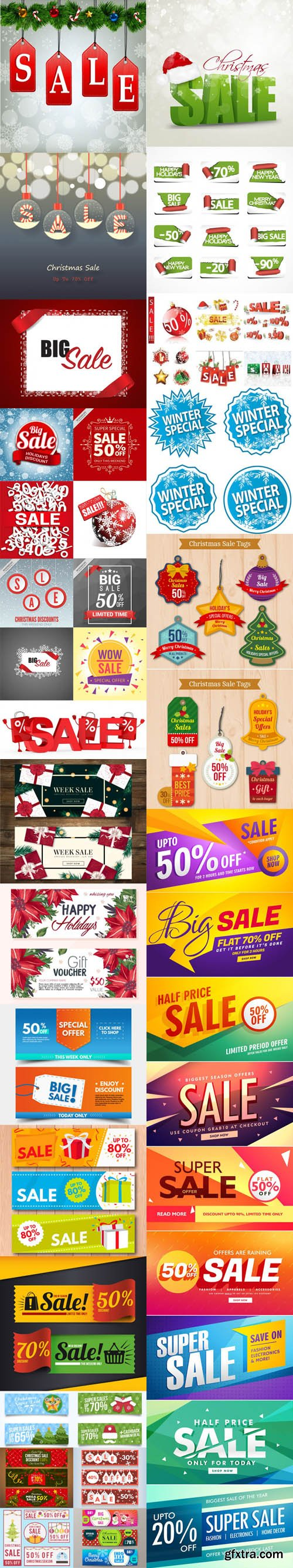 Holiday & Christmas Sales Vector Bundle 2 [Ai/EPS]
