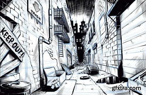 Drawing a Comic Book Background with One Point Perspective