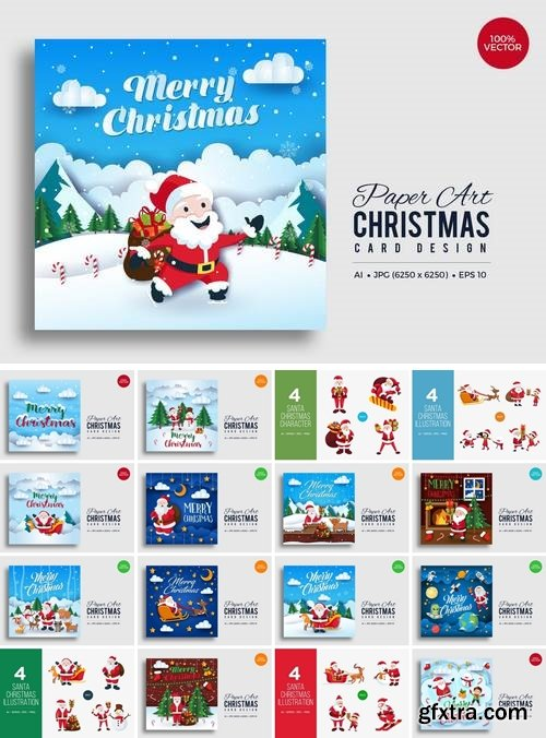 Merry Christmas Square Vector Card Bundle