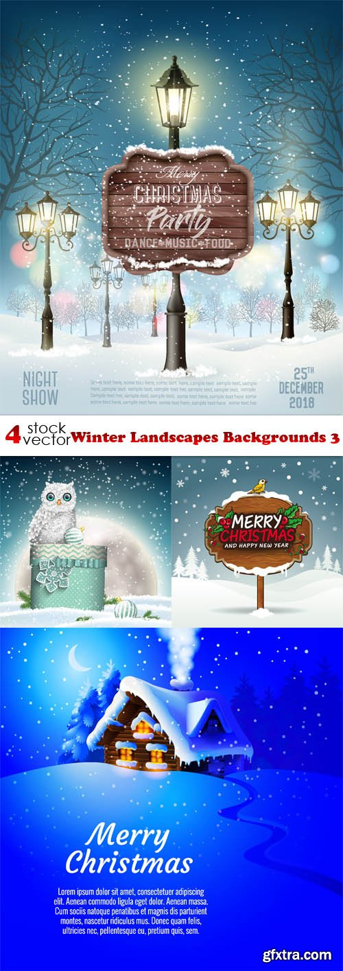 Vectors - Winter Landscapes Backgrounds 3