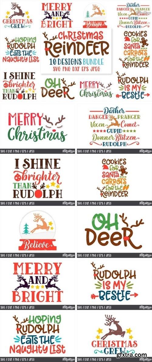 CF - Christmas Reindeer SVG Bundle 772996