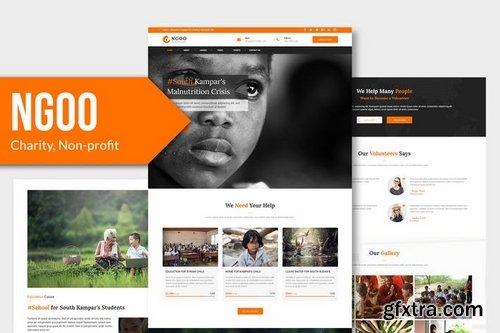 NGOO - Charity, Non-profit, PSD Template