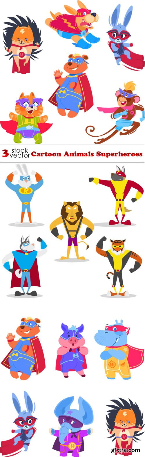 Vectors - Cartoon Animals Superheroes