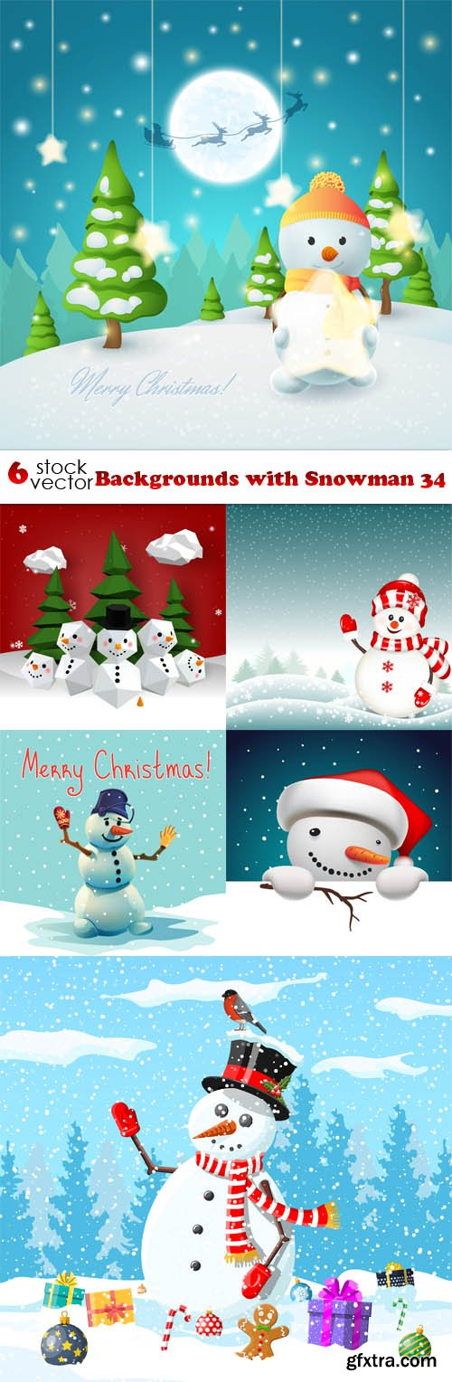 Vectors - Backgrounds with Snowman 34