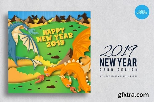 Cute Dragon Theme Happy New Year 2019 Vector Card