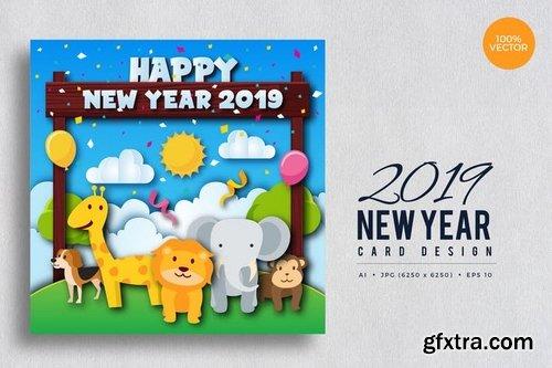 Cute Wildlife Animal Happy New Year 2019 Card