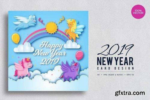 Cute Pony Theme Happy New Year 2019 Vector Card