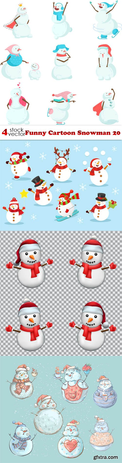 Vectors - Funny Cartoon Snowman 20