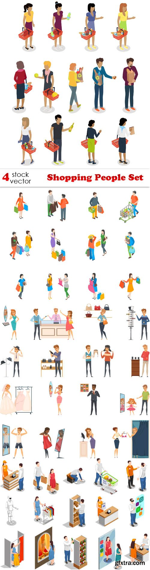 Vectors - Shopping People Set