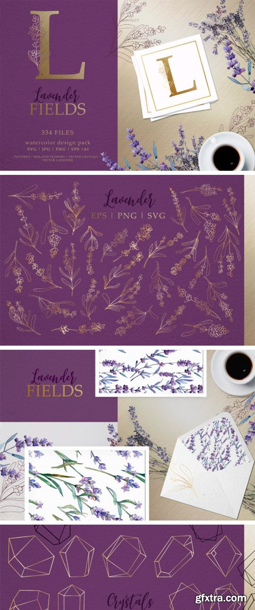 Lavender Fields Watercolor and Vector Pack