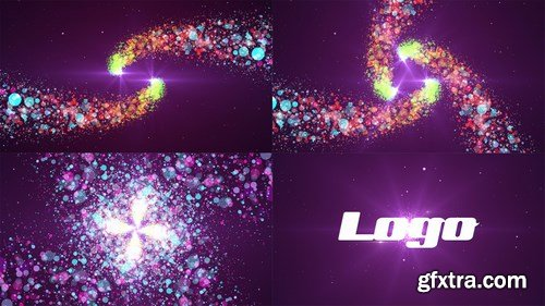 MA -  4 in 1 Colorful Particles Spiral Logo After Effects Templates 90845