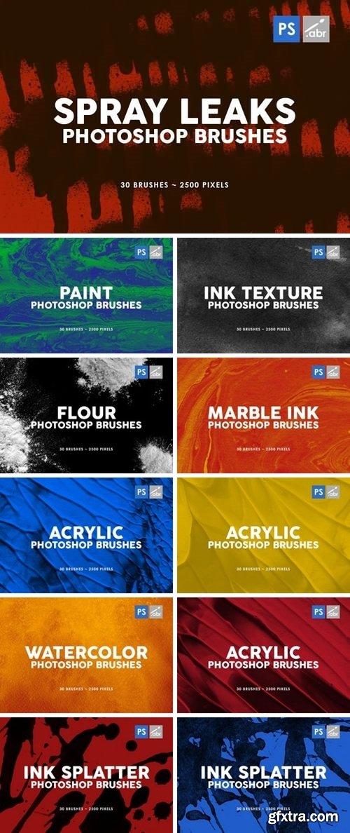 330 Ink Texture Photoshop Brushes Bundle