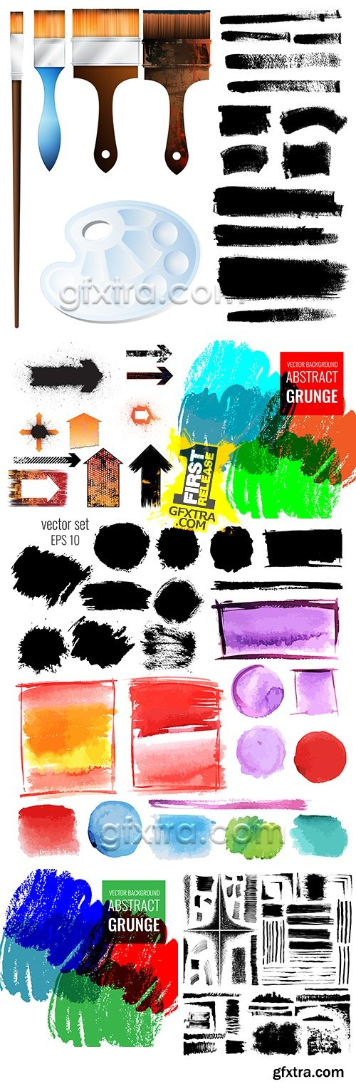 Grunge collection brush watercolor and black design