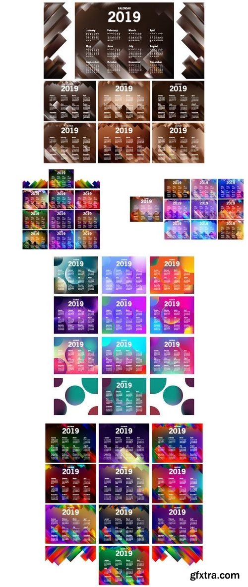 Stock Vector - Calendar 2019 Template Design