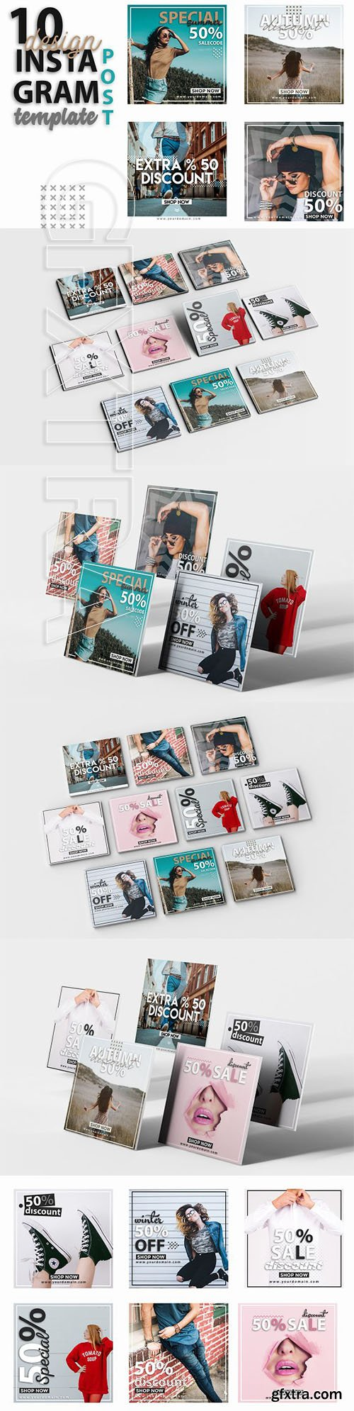 CreativeMarket - Instagram Post Template-Fashion Week 3212461